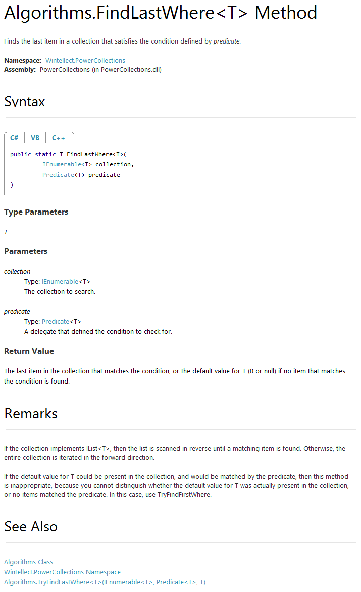 XML Comment tags supported by GhostDoc - SubMain